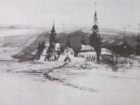 Dessin de Victor Hugo représentant une ville d'où part un chemin, et vers laquelle volent les djinns.