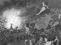 Un vol de sorciers et de sorcières rejoint le diable (sous forme d'un bouc) pour accomplir le Sabbat.